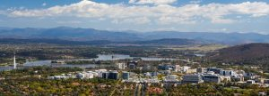 City of Canberra and the lake, mountains and sky in ACT