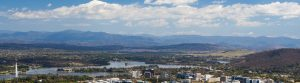 Mountains, lake and sky over Canberra in ACT.