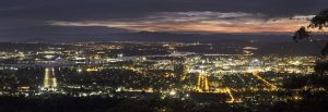 Panoramic night view of Canberra.