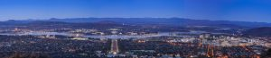 Canberra city in the evening from Mount Ainslie