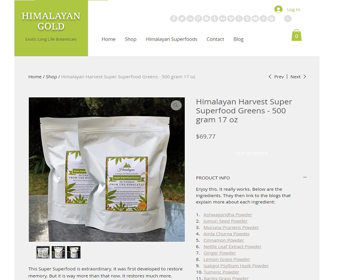 Himalayan Harvest Super Superfood site