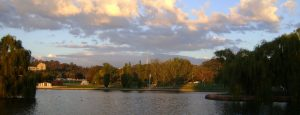 Afternoon over the lake in Canberra and ACT.