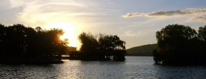 Lake at sunset in Canberra in ACT.