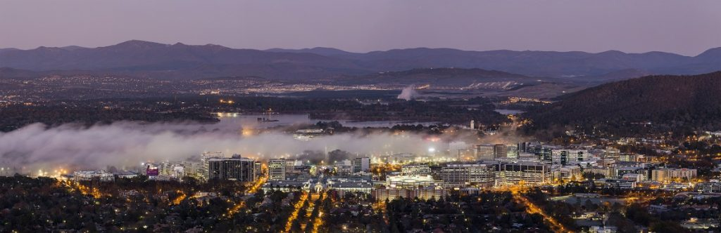 Canberra civic with low cloud in the evening.