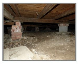 These piers under a house are lose and dangerous.
