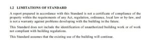 Standard 1.2 for Canberra building inspections in terms and conditions.